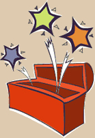 Activity Kit cartoon drawing - red box with stars leaping out